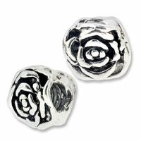 MIOVI™ Silver Plated Large Hole 10mm Rose Beads (1PC)