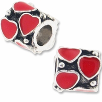 MIOVI™ Silver Plated Large Hole 10mm Red Enameled Hearts Bead (1PC)