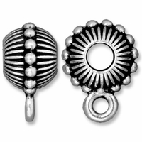 Antiqued Silver 11mm Beaded Crown Euro Large Hole Bail (1PC)