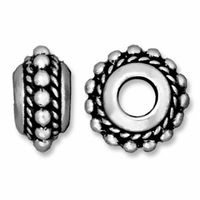 Antiqued Silver 11mm Beaded Twist Euro Large Hole Bead (1PC)