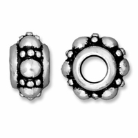 Antiqued Silver 10mm Turkish Euro Large Hole Bead (1PC)