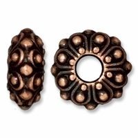 Antiqued Copper 12.5mm Casbah Euro Large Hole Bead (1PC)