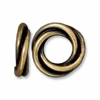 Brass Oxide 12mm Twisted Spacer Large Hole Bead (1PC)