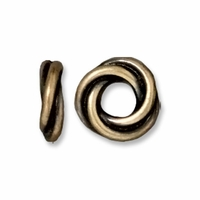 Brass Oxide 8mm Twisted Spacer Large Hole Bead (1PC)