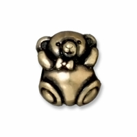 Brass Oxide 11mm Bear Euro Large Hole Bead (1PC)