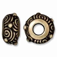 Brass Oxide 11.5mm Spiral Euro Large Hole Bead (1PC)