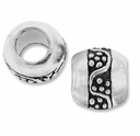 MIOVI� Silver Plated Large Hole 9mm Pretty Barrel Bead (1PC)