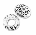 MIOVI� Silver Plated Large Hole 9mm Flower Rondel Bead (1PC)