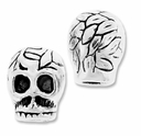 MIOVI� Silver Plated Large Hole 8mm Nature Skull Bead (1PC)