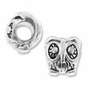 MIOVI� Silver Plated Large Hole 11mm Wise Owl Bead (1PC)