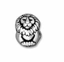 Antiqued Silver 11mm Lion Euro Large Hole Bead (1PC)
