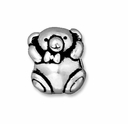 Antiqued Silver 11mm Bear Euro Large Hole Bead (1PC)