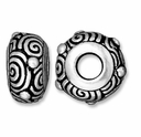Antiqued Silver 11.5mm Spiral Euro Large Hole Bead (1PC)