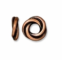 Antiqued Copper 8mm Twisted Spacer Large Hole Bead (1PC)