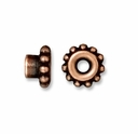 Antiqued Copper 7mm Beaded Bead Aligner w/4mm Peg (1PC)