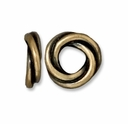 Brass Oxide 10mm Twisted Spacer Large Hole Bead (1PC)