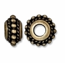 Brass Oxide 11mm Beaded Twist Euro Large Hole Bead (1PC)