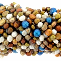 4-8mm Multi -Color Baroque Nugget Pearls Strand