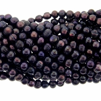Dark Purple Peacock 5-6mm Potato Freshwater Pearl Bead Strand