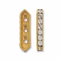 Gold Plated 3 Hole 17.5mm Crystal Rhinestone Spacer Bar (1PC)