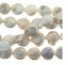 White 11-12mm Baroque Coin Pearl Bead Strand