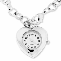 Silver Finish Heart Pendant Watch Charm Bracelet
