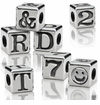 4.5mm  Sterling Silver Alphabet Beads Small 1.9mm Hole