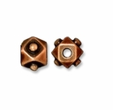 Antiqued Copper 5mm Faceted Cube Bead (1PC)