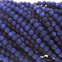4mm Blue Goldstone Round Beads 16 Inch Strand