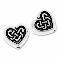 Antiqued Silver 7.5mm Celtic Flat Heart Beads (10PK)