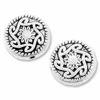 Antiqued Silver 10mm Sun Flower Flat Round Beads (10PK)