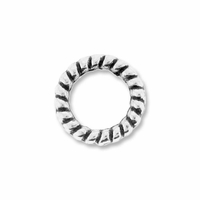 Antiqued Silver 8mm Twisted Rings  (20PK)