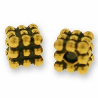 Antique Gold Beaded Cube Bead