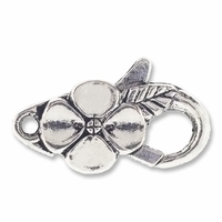 Antiqued Silver 26mm Flower Oval Lobster Clasps (5PK)