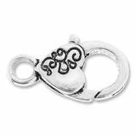 Silver Plated Heart Lobster Clasps (5PK)