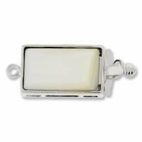Silver Plated 20mm Shell Push Clasp 20mm (1PC)