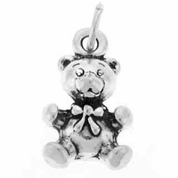 Teddy Bear Sterling Silver Charm