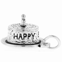 1st Birthday Cake Sterling Silver Charm