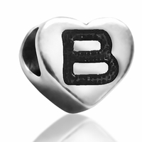 7mm Heart Letter B Bead
