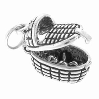 Baby in Basket Movable Sterling Silver Charm