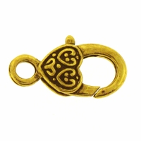 Antiqued Gold Plated 26mm Ornate Heart Lobster Clasp (4PK)