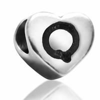 7mm Heart Letter Q Bead