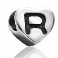 7mm Heart Letter R Bead