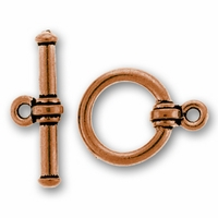 Antique Copper Bar & Ring Toggle Clasp Set