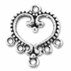 Antiqued Silver Ornate Beaded 1 to 5  Heart Link (10PK)
