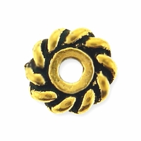 6mm Antique Gold Twist Heishi Spacer Bead (10PK)