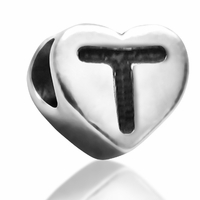 7mm Heart Letter T Bead