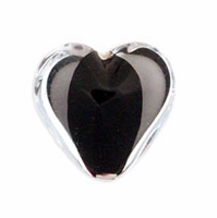 18mm Black Satin Heart Bead