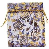 4x6 Inch Purple w/Gold Flower Print Organza Gift Bag