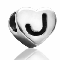 7mm Heart Letter J Bead